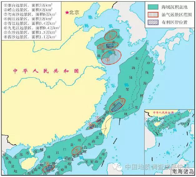 中国重点海域新区新层系油气远景区分布图