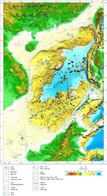 新生界沉积厚度,莫霍面深度,海底基岩,构造边界,中-新生代沉积盆地